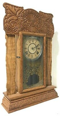 Beautiful Antique Oak Gingerbread Wood Mantle Kitchen Clock