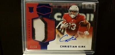 """CHRISTIAN KIRK 2018 PANINI PLATES & PATCHES ROOKIE JERSEY PATCH AUTO""""  #'rd /50"""