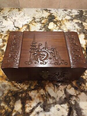 Vintage Hand Carved Wood Jewelry Box Oriental Asian