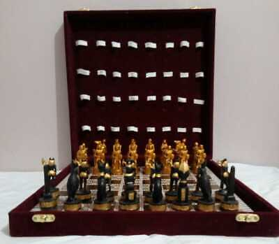 Art of Egyptian Chess Set(+ Red Box) Home Decor Antiques Old Pharaohs Statues