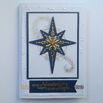 Handmade Christmas card: Star of Night: deep blue and gold.
