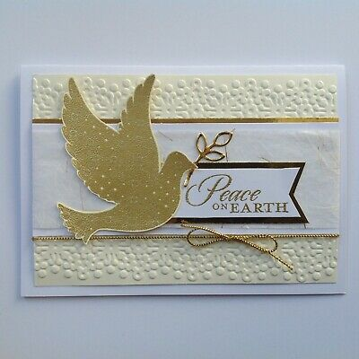 Handmade Christmas card: Peaceful Dove in gold and ivory.
