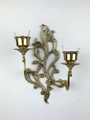 ✨Beautiful Vintage Ornate Gold Tone Brass Wall Sconce Double Arm Candle Holder ✨