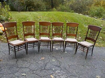 Vintage SET of  6 Antique WOODEN DINING CHAIRS