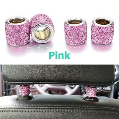 1 Pc Crystal Car Seat Headrest Decoration Charms Pink Car Accessories For Women