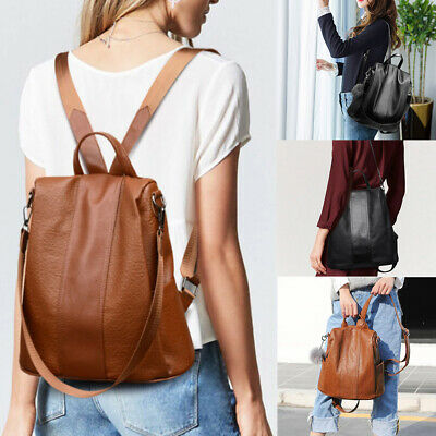 AU Women's Leather Backpack Anti-Theft Rucksack School Shoulder Bag Black/Brown%