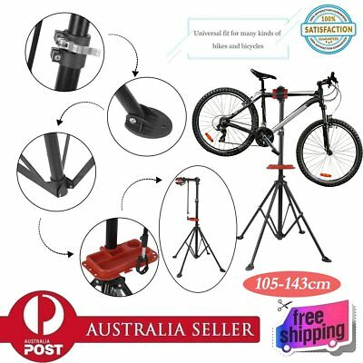 New Bike Repair Work Stand With Bonus Tool Tray For Home Bicycle Mechanic QU