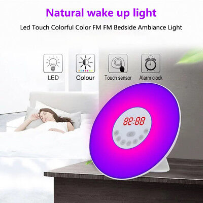 AU Wake up LED Light Sunrise Alarm Clock w/ FM Radio Bedside Sounds Night NA