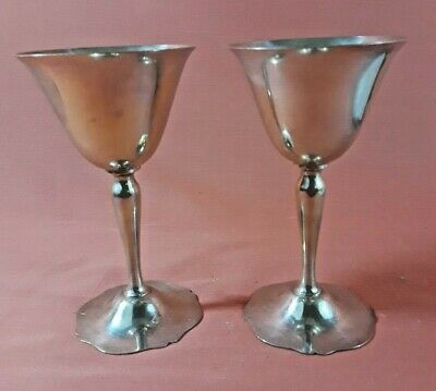 Wallace Sterling Silver Antique Pattern Wine Goblets