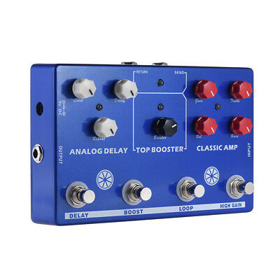 MOSKYAUDIO  4 effects  in 1  Multi- Effects Amp Booster delay