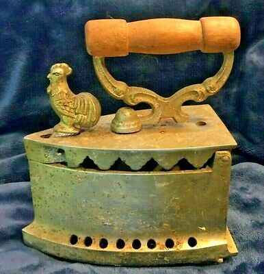 GREAT Antique 1800's Cast Iron Rooster Charcoal/Coal Clothes Iron Wooden Handle