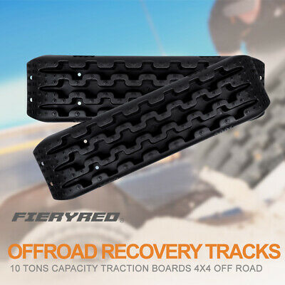 FieryRed 2Pcs Offroad Recovery Boards Traction Track Sand Snow Ladder Off Road