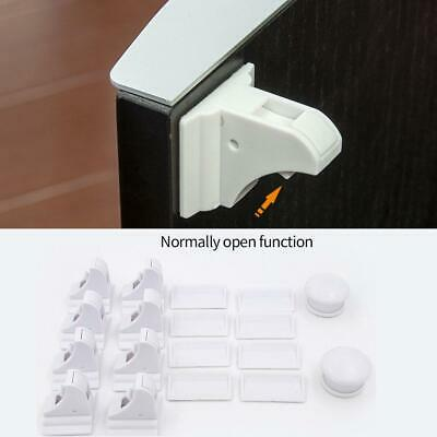 Magnetic No Drilling Cabinet Drawer Cupboard Locks Baby Kids Safety Lock NEW