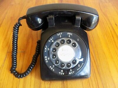 Western Electric Bell Model 500 -1957 Black Rotary Telephone Desk Tested Works