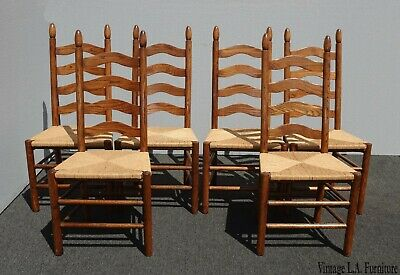 Set of Six Vintage French Country Oak Ladderback Dining Chairs w Rush Seats