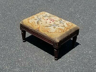 Antique French Country Gold Needlepoint Floral Ornate Footstool Decorative Nails