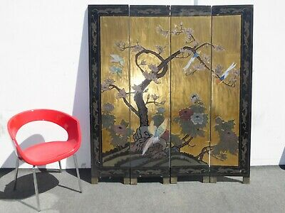 Vintage Oriental Asian Four Panel Gold Screen Room Divider w Birds