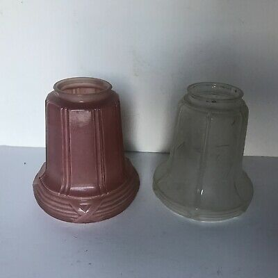 Antique non matching pair pink frosted glass shade lamp ceiling fixture