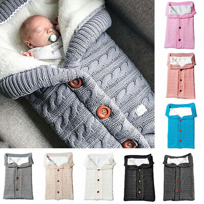 Newborn Infant Baby Blanket Knit Crochet Winter Warm Swaddle Wrap Sleeping BagCA