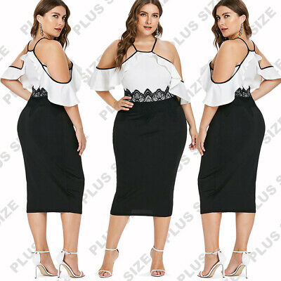 Summer Womens Plus Size Fashion Dress Casual Sexy Lace Party Mid Calf DressesCA