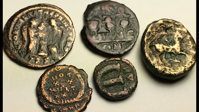 ANCIENT AUTH. 5 XRARE$ Coins; 1 GREEK 221 BC, 1 BYZANTINE 565 AD, 3 ROMAN 307 AD