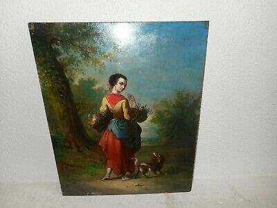 19th century oil painting,{ French school, pretty woman with flowers, +- 1850}.