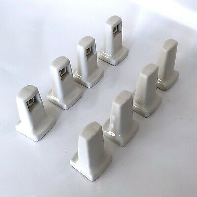Vintage 1940s Ivory Porcelain Bath Paper Towel Rack Holder Bar Toilet Art Deco