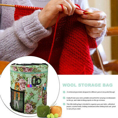 Knitting Wool Craft Sewing Floral Print Empty Storage Bag For Crochet Hanging