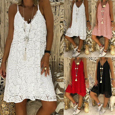Women's Summer Sleeveless Solid Casual V Neck Dress Loose Plus  Lace DressesCA