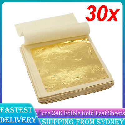 10pcs Pure 24K Edible Gold Leaf Sheets For Cooking Framing Art Craft Decorating