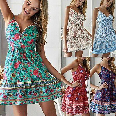 Womens Sexy Sleeveless V-Neck A-Line Boho Floral Mini Dress Summer Sundress CA