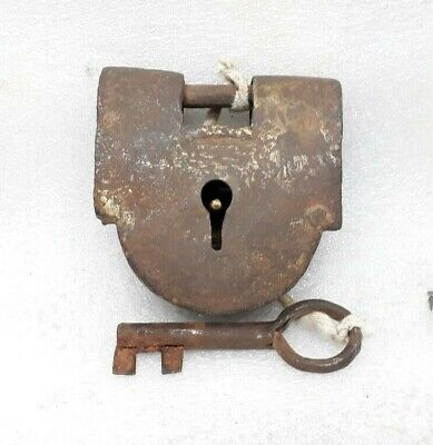 Antique Old Hand Crafted Iron Padlock Lock Key Working Condition ARA7