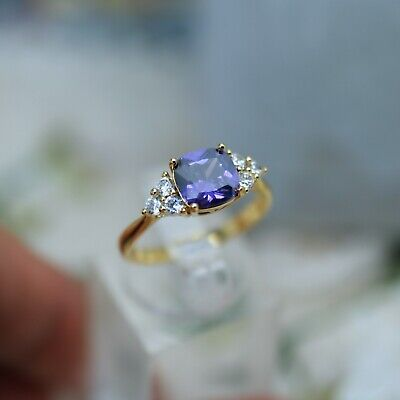 Vintage Jewellery Gold Ring Amethyst White Sapphires Antique Jewelry Size R