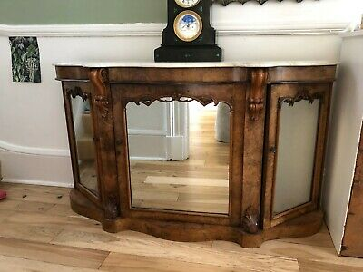 ANTIQUE Victorian Hall Conslole Table with marble top and mirrored doors.