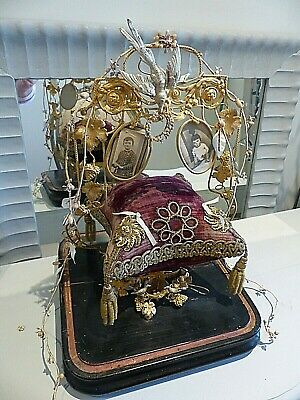 Antique Most Unusual French Wedding Stand With Bird Nest In Silver & Gold Gilt