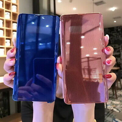 Plating PC Mirror View Flip Hard Case Cover For iPhone For Samsung For Huawei