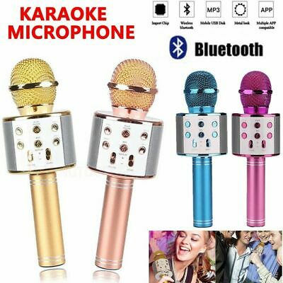 Bluetooth WS858 Stereo Singing Player Karaoke Microphone KTV Speaker Wireless UK