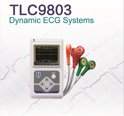 USA Portable 3 leads ECG EKG Holter Analyze System Recorder software Monitor 24H