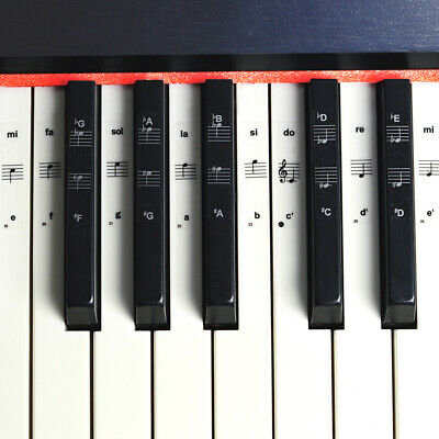 Music Keyboard Piano Note Stickers 88/61/54/37/32 White and Black Keys Removable