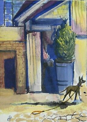 ACEO original Missing doggy mixed media CITY dog painting Dora Pilssala