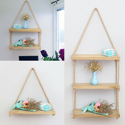 1/2/3 Tiers Natural Wood Corner Shelves Shelf Space-Saving Floating Rack Display