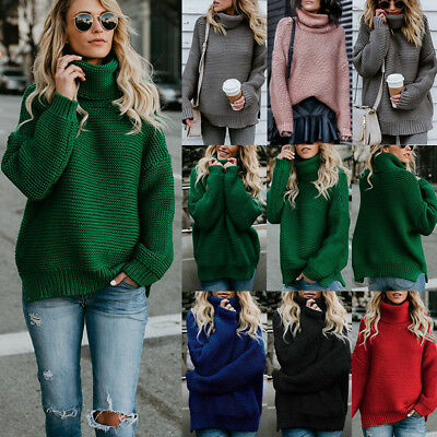Womens Winter Turtle Neck Baggy Chunky Knitted Oversized Sweater Jumper Tops UK