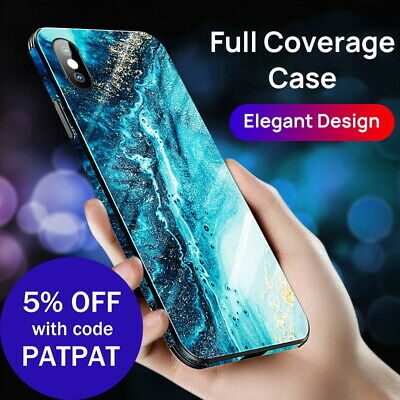 iPhone X XS Max XR Case Shockproof Tough Glass Marble Soft Cover for Apple