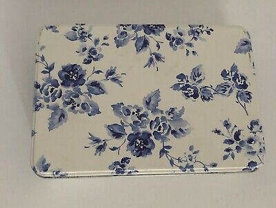 Blue And White Floral Storage Tin Caddy