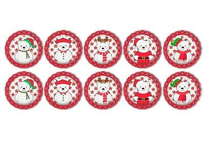 Christmas Red And White Polar Bear  Bottle Caps 1inch Set 1