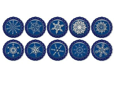 5/10x Blue And White Snowflakes  Bottle Caps 1inch