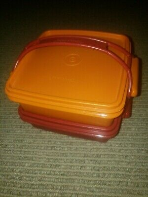 """Vintage Tupperware 5.5"""" Square Away Sandwich Keeper Pair w Carry Handle Paprika"""