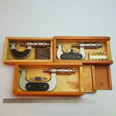 Screw Thread Micrometer Set 0-25-50-75mm +22 Metric ISO60° Pitch inserts