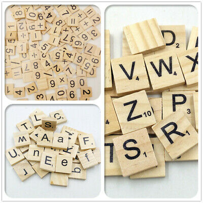100/200 Wooden Letters Alphabet Scrabble Tiles Letters + Numbers For Game/Crafts