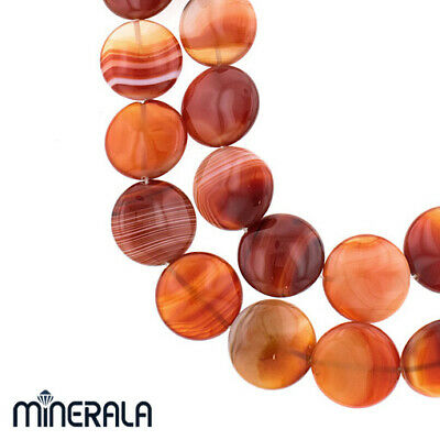 """[WHOLESALE] NATURAL RED CARNELIAN AGATE GEMSTONE COIN BEADS 22mm 15"""" STRAND"""
